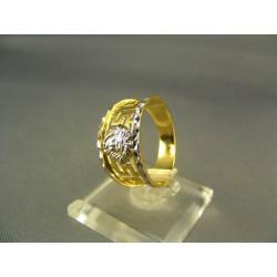 Zlatý dámsky prsteň s ornamentmi viacfarebné zlato DP59351V