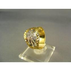 Zlatý dámsky prsteň so vzorom mohutný žlté biele zlato DP58291V