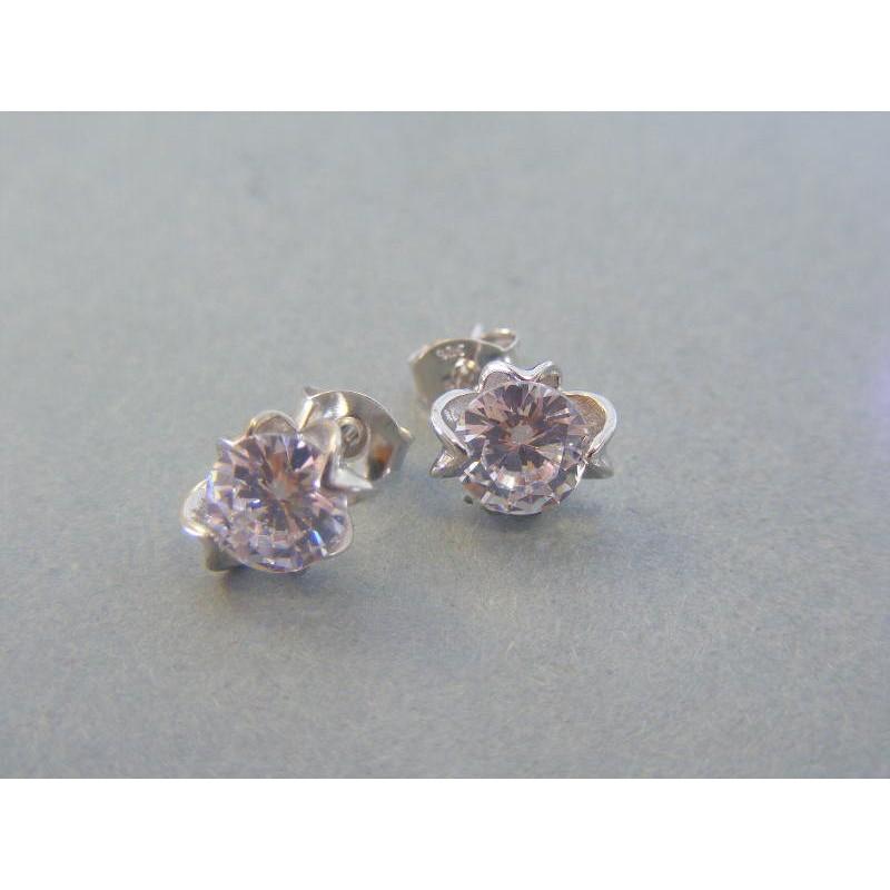 df65bc325 Strieborné dámske náušnice kvet napichovačky zirkón VAS184 925/1000 1.84g. Loading  zoom