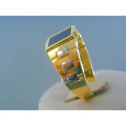 Zlatý pánsky prsteň žlté biele zlato kameň onyx DP69656V 14 karátov 585/1000 6.56g
