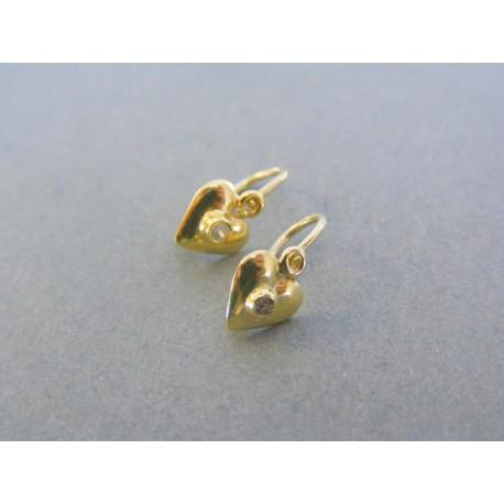Zlaté detské náušnice v žltom zlate tvar srdiečko kamienok VA084ZS