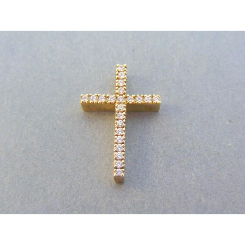bfcf1b51e Zlatý prívesok krížik žlté zlato číre zirkóny DIK391Z 14 karátov 585/1000  3.91g. Loading zoom