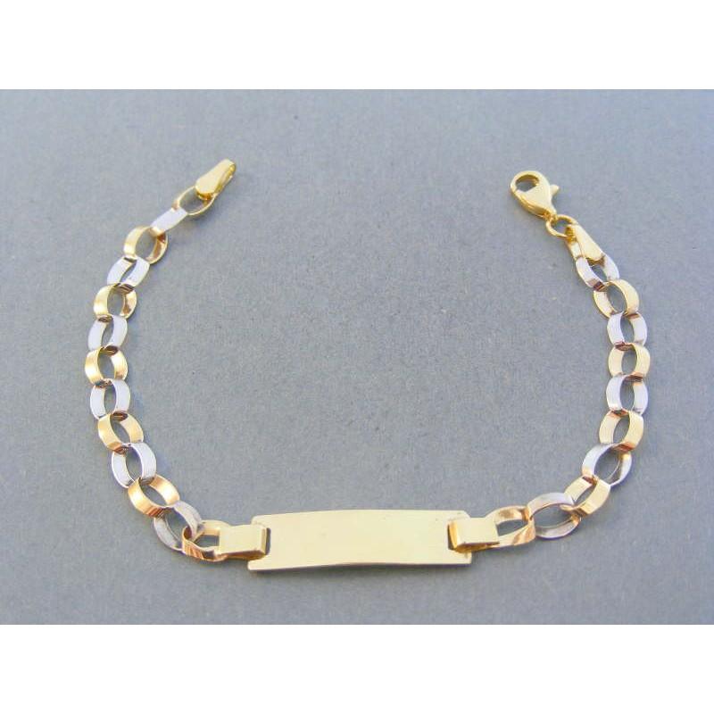 17341d281 Zlatý náramok žlté biele zlato platnička veľké očká VN155279Va 14 karátov  585/1000 2.79g. Loading zoom