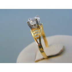 e1eefaa06 Zlatý dámsky prsteň žlté biele zlato zirkón v korunke DP54199V 14 karátov  585/1000 1.99