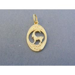 Zlatý prívesok znamenie kozorožec žlté zlato vzorovaný DI086Z 14 karátov 585/1000 0.86g
