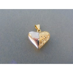 Zlatý prívesok srdiečko žlté biele zlato jemný vzor DI120V 14 karátov 585/1000 1.20g