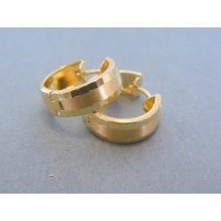 Zlaté dámske náušnice kruhy jemný vzor žlté zlato DA220Z 14 karátov 585/1000 2.20g