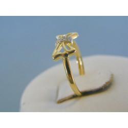 Zlatý dámsky prsteň mašľa žlté zlato kamienky VP48094Z 14 karátov 585/1000 0.94g