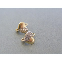 Zlaté detské náušnice srdiečka zdobené kamienkami zirkónu VA145Z 14 karátov 585/1000 1.45g