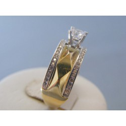 Zlatý dámsky prsteň žlté biele zlato zirkóny VP58418V 14 karátov 585/1000 4.18g