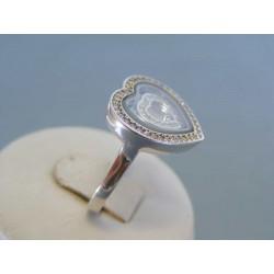 Strieborný dámsky prsteň srdce zirkóny DPS57660 925/1000 6.60g