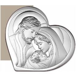 Strieborný obraz svätá rodina srdce VO643215