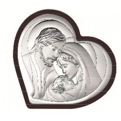 Strieborný obraz svätá rodina srdce drevo VO643215WM