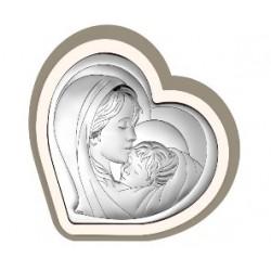 Strieborný obraz Panna Mária s Ježiškom srdce VO6433/10C