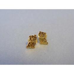 Zlaté náušnice mačky žlté zlato DA078Z 14 karátov 585/1000 0,78g