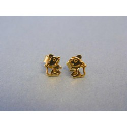 Zlaté náušnice myšky žlté zlato napichovačky DA075Z 14 karátov 585/1000 0,75g