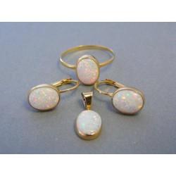 Zlatá dámska súprava prsteň prívesok náušnice biely opál DS55392Z 14 karátov 585/1000 3,92g