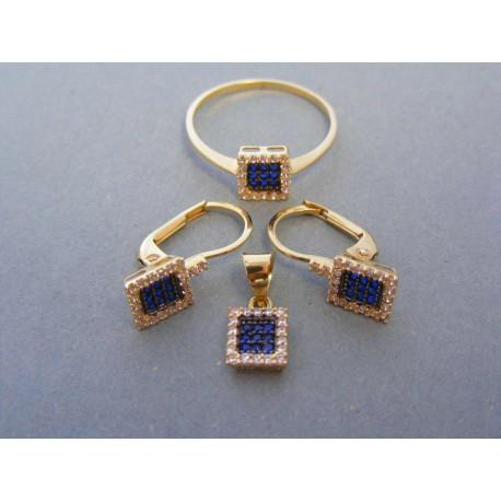 Zlatá dámska súprava modrý zirkón žlté zlato DS372Z 14 karátov 585/1000 3,72g