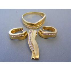 Zlatá súprava prívesok prsteň náušnice žlté zlato zirkóny DS862Z 14 karátov 585/1000 8,62g