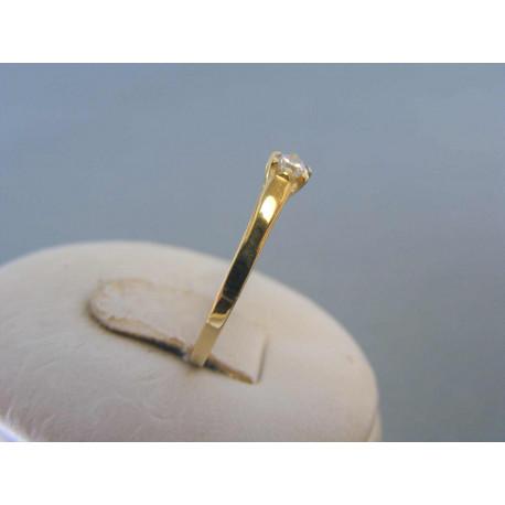 Zlatý dámsky prsteň biely zirkón žlté zlato DP54113Z 14 karátov 585/1000 1,13g
