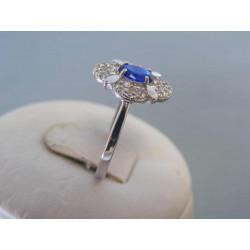 Zlatý dámsky prsteň modrý zirkón biele zlato DP55219B 14 karátov 585/1000 2,19g
