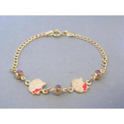 Zlatý detský náramok hello kitty žlté zlato DN145186Z 14 karátov 585/1000 1,86g