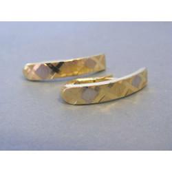 Zlaté dámske náušnice vzorované biele žlté zlato DA227V 14 karátov 585/1000 2,27g