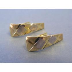 Zlaté dámske náušnice biele žlté zlato vzorované DA212V 14 karátov 585/1000 2,12g
