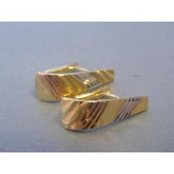 Zlaté dámske náušnice vzorované viac farebné zlato DA202V 14 karátov 585/1000 2,02g