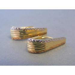 Zlaté dámske náušnice vzorované viac farebné zlato DA204V 14 karátov585/1000 2,04g