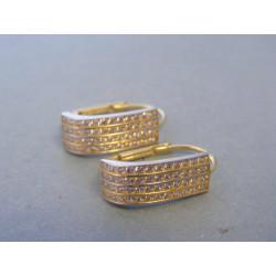 Zlaté dámske náušnice zirkóny biele žlté zlato DA321V 14 karátov 585/1000 3,21g