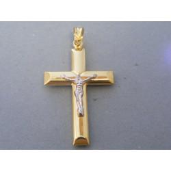 Zlatý krížik umučenie biele žlté zlato DI315V 14 karátov 585/1000 3,15g
