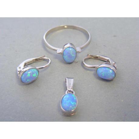 Zlatá dámska súprava modrý opal biele zlato DS57413B 14 karátov 585/1000 4,13g
