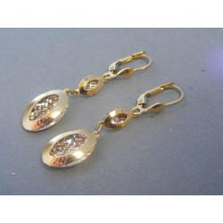 Zlaté dámske visiace náušnice biele žlté zlato DA282V 14 karátov 585/1000 2,82g