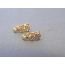 Zlaté náušnice kvietky zirkóny žlté zlato DA119Z 14 karátov 585/1000 1,19g