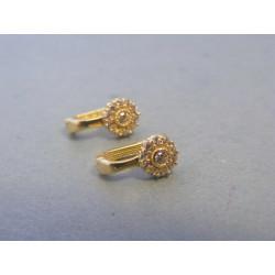 Zlaté náušnice kvietky zirkóny žlté zlato DA144Z 14 karátov 585/1000 1,44g