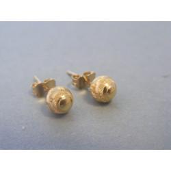 Zlaté dámske náušnice napichovačky vzorované DA107Z 14 karátov 585/1000 1,07g