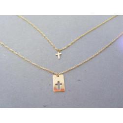 Zlatá retiazka dvojitá krížik žlté zlato VR4245222Z 14 karátov 585/1000 2,22g