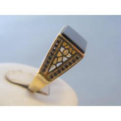 Zlatý pánsky prsteň žlté zlato zirkóny onyx VP66694Z 14 karátov 585/1000 6,94g