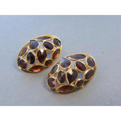 Zlaté dámske náušnice český granát žlté zlato VA574Z 14 karátov 585/1000 5,74g