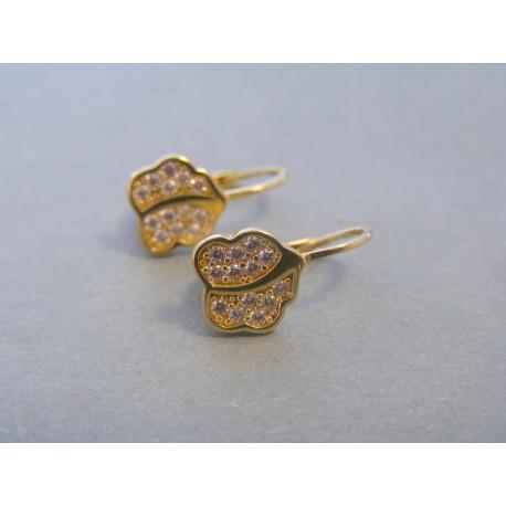 Zlaté dámske náušnice žlté zlato zirkóny VA216Z 14 karátov 585/1000 2,16g