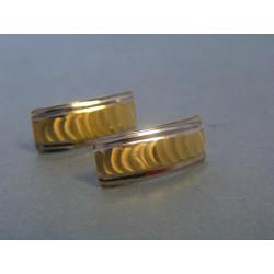 Zlaté dámske náušnice vzorované biele žlté zlato VA173V 14 karátov 585/1000 1,73g
