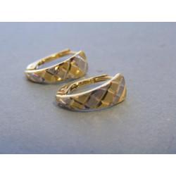 Zlaté dámske náušnice vzorované biele žlté zlato VA127V 14 karátov 585/1000 1,27g