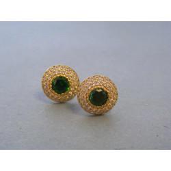 Zlaté dámske náušnice napichovačky zelený kameň VA273Z 14 karátov 585/1000 2,73g