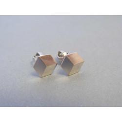 Strieborné náušnice kocky 3D VAS093 925/1000 0,93g