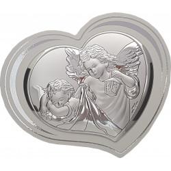 Strieborný obrázok srdce anjelikovia VL81298
