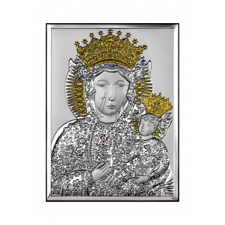Strieborný obraz Panna Mária Ježiško pozlatený BC6520/5O