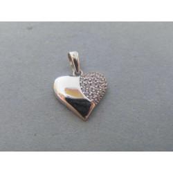 Zlatý prívesok srdiečko zirkóny biele zlato VI096B 14 karátov 585/1000 0,96g