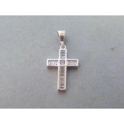 Zlatý prívesok krížik biele zlato zirkóny VI100B 14 karátov 585/1000 1,00g