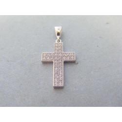 Zlatý prívesok krížik zirkóny biele zlato VI135B 14 karátov 585/1000 1,35g